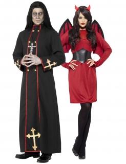 Dämonisches Halloween-Paarkostüm schwarz-rot
