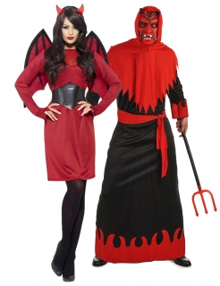 Teufel-Paarkostüm Böses Päärchen Halloween rot-schwarz
