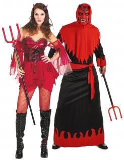 Teufel-Päärchen-Kostüm für Halloween schwarz-rot