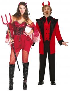 Attraktives Teufel-Paarkostüm Halloween rot-schwarz