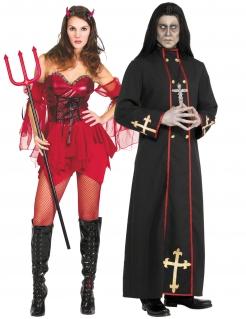 Höllisches Paar-Kostüm Halloween Teufelin und Priester rot-schwarz