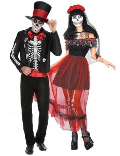 Tag-der-Toten-Paarkostüm Skelett Halloween