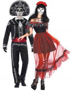 Dia-De-los-Muertos-Paarkostüm Skelett Halloween schwarz-bunt