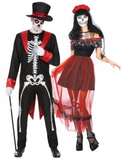 Skelett-Paarkostüm Tag-der-Toten schwarz-rot