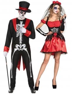 Skelett-Paarkostüm Dia de los Muertos schwarz-rot