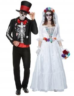 Skelett-Brautpaar-Kostüm schwarz-weiß-bunt