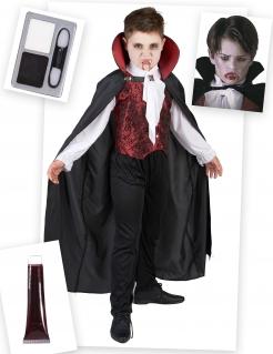 Vampir-Kostümset für Jungen 6-teilig schwarz-rot-weiß