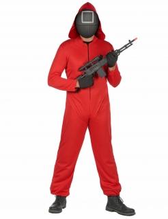 Wächter-Kostüm Quadrat 5-teilig rot-schwarz