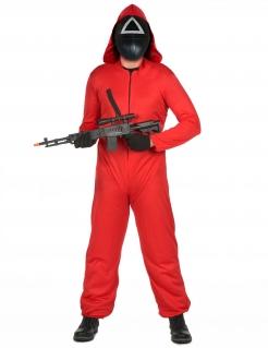 Horror-Spielwächter Serienkostüm mit Kunststoff-Maske für Erwachsene koreanisch rot-schwarz-weiß