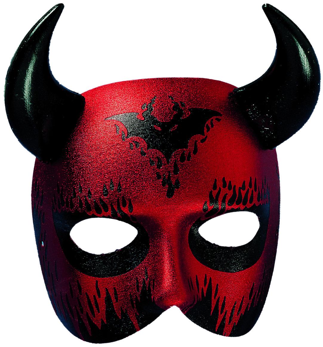 schwarz mit roten Hörnern Teufelsmaske Maske Teufel