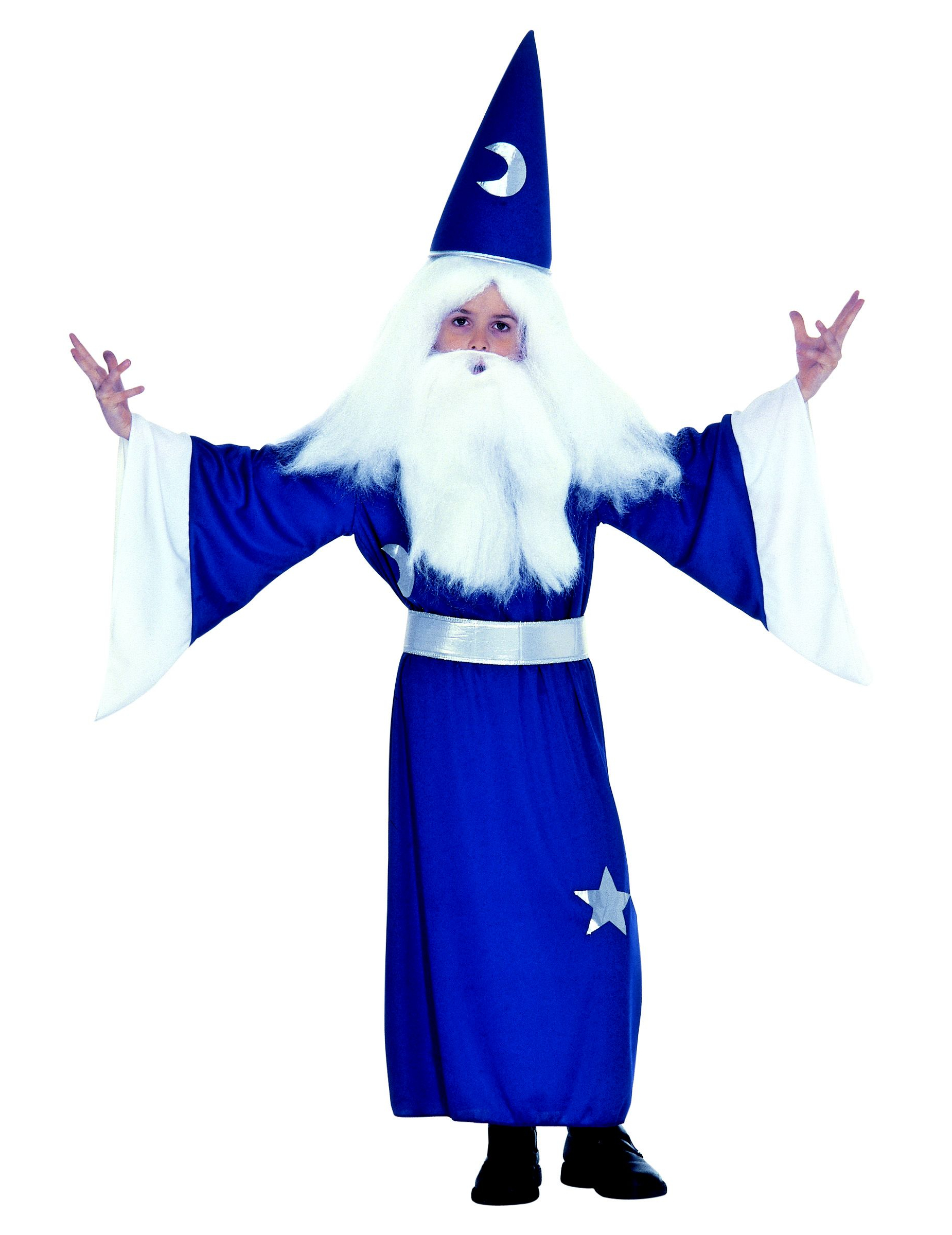 Magierkostum Fur Kinder Zauberer Kinderkostum Blau Silber Gunstige