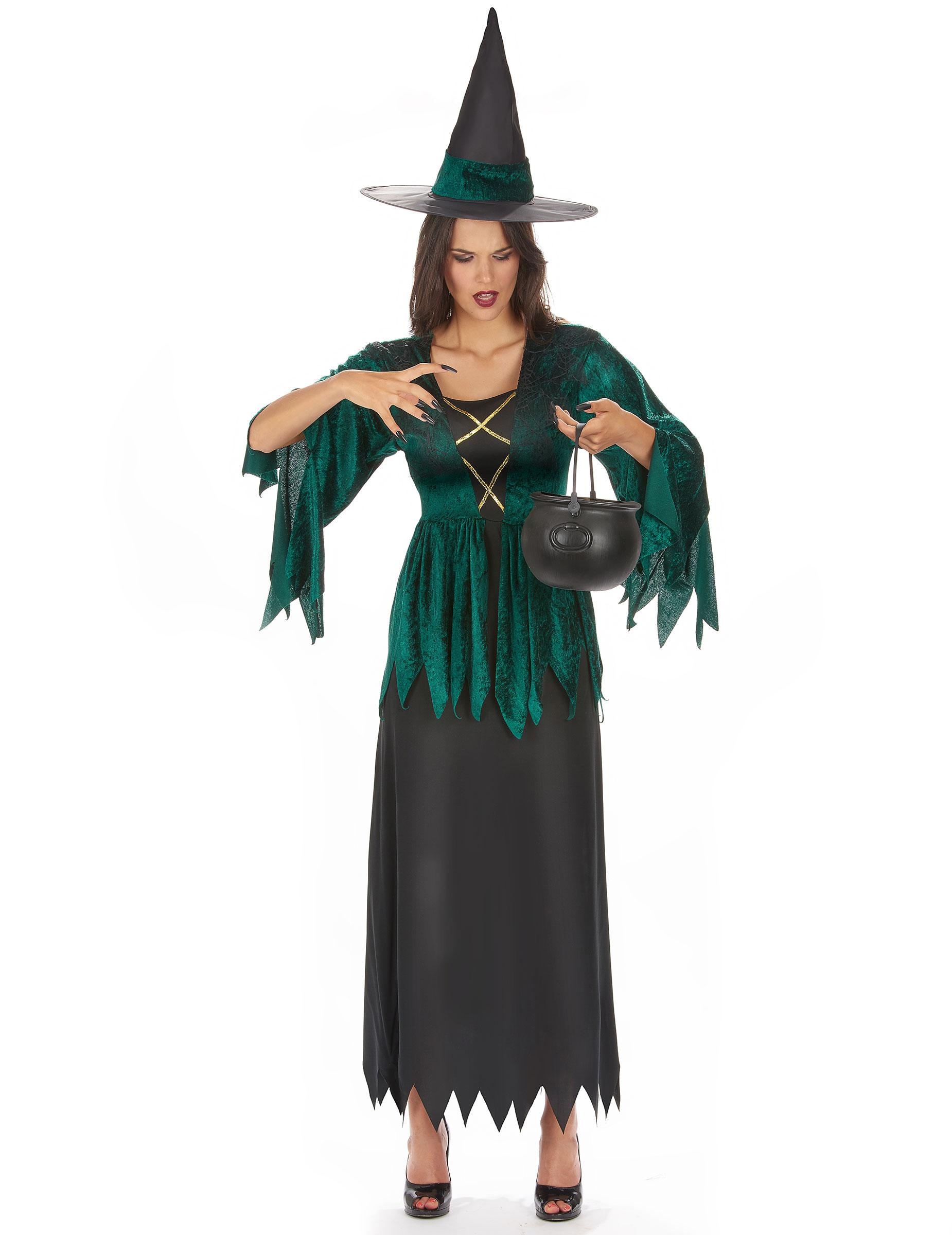 9568ec3e05 Magische Hexe Damenkostüm Märchen grün-schwarz , günstige Halloween ...