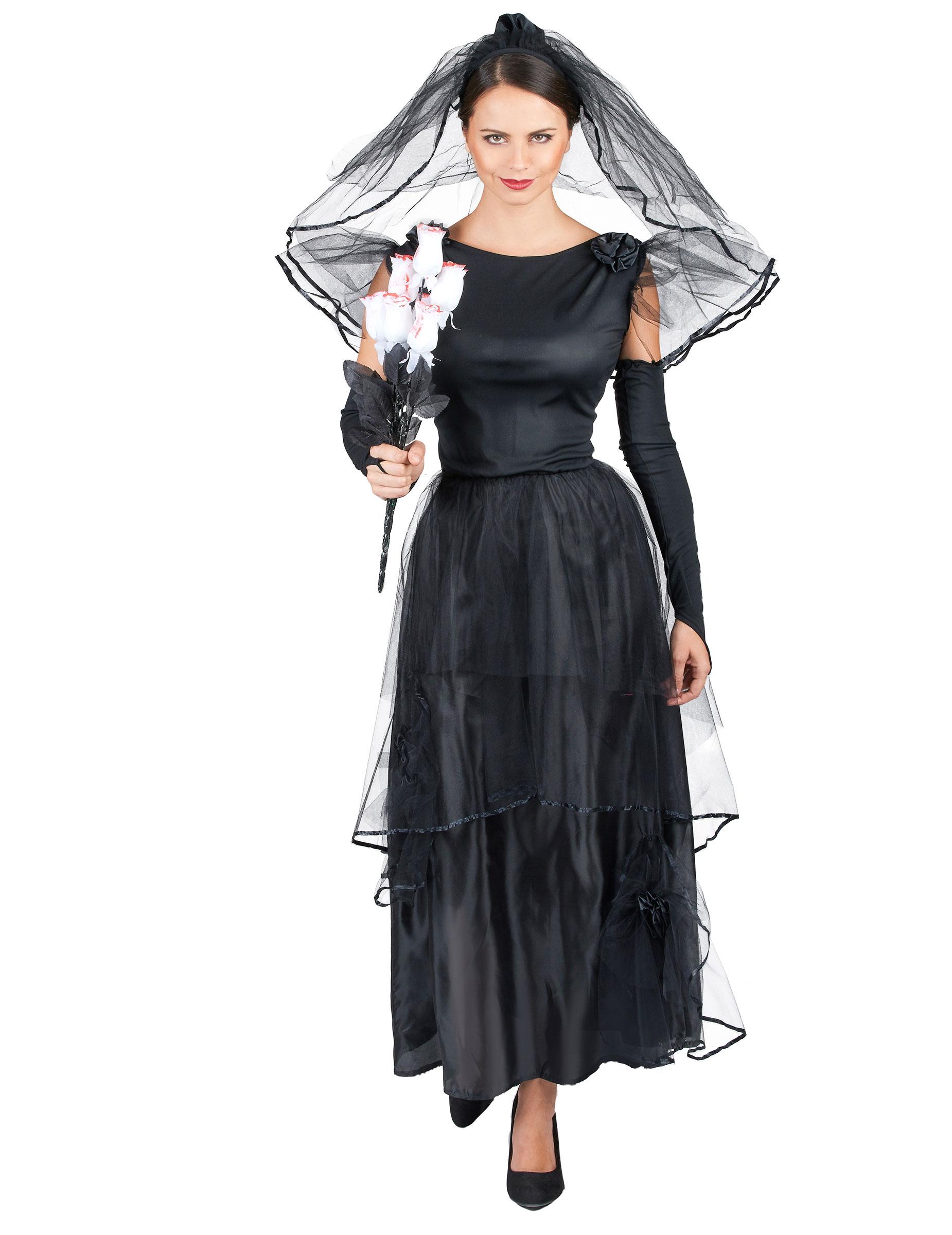 Gothic Braut Halloween Damenkostüm schwarz , günstige