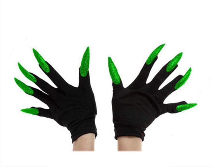 Schwarze Handschuhe mit langen grünen Nägeln für Erwachsene schwarz grün
