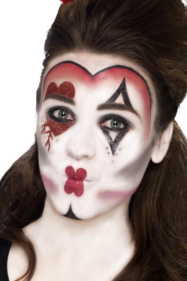 Herzkonigin Make Up Set Rot Weiss Schwarz Gunstige Halloween Make
