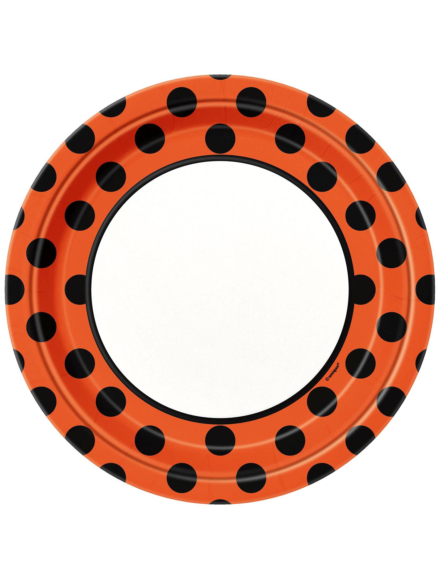 Halloween Teller Tischdeko Set 8 Stuck Schwarz Orange Weiss 23cm