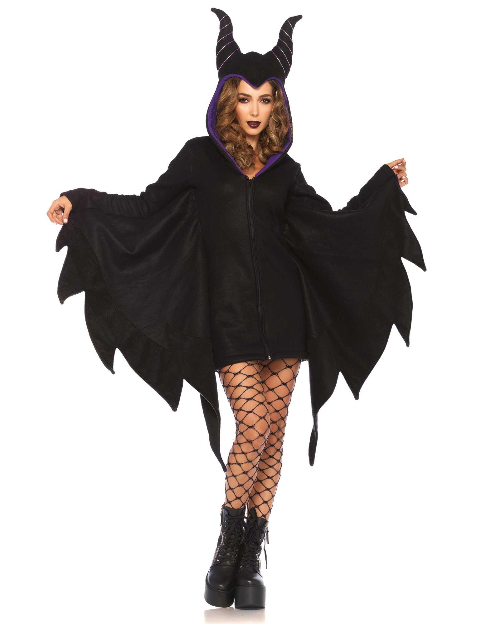 463bb61771ef0 Fledermaus-Umhang Halloween-Damenkostüm schwarz-lila