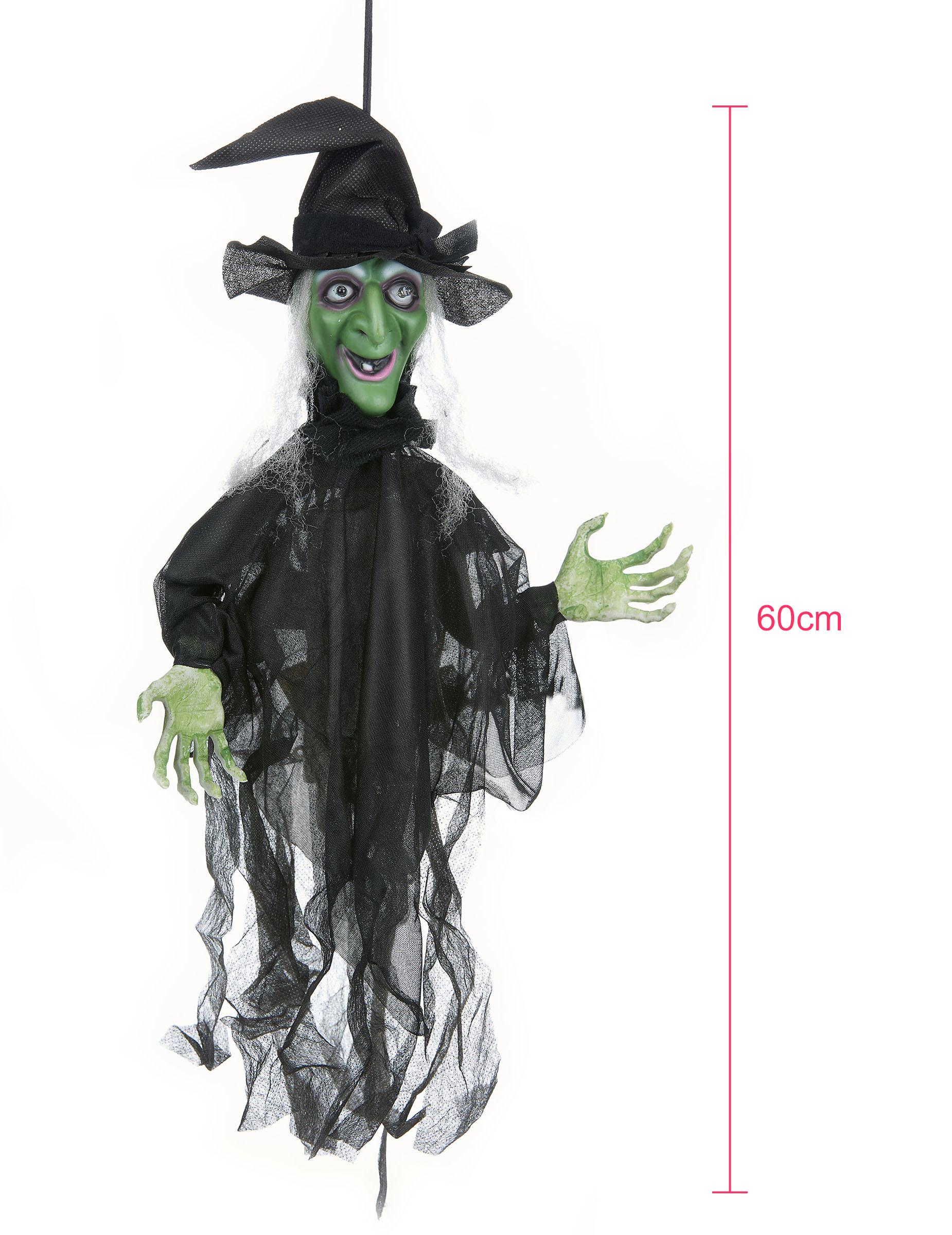 Animierte Hexe Mit Leuchtaugen Und Sound Halloween Deko Schwarz Grun 60cm Gunstige Halloween Partydeko Bei Horrorklinik