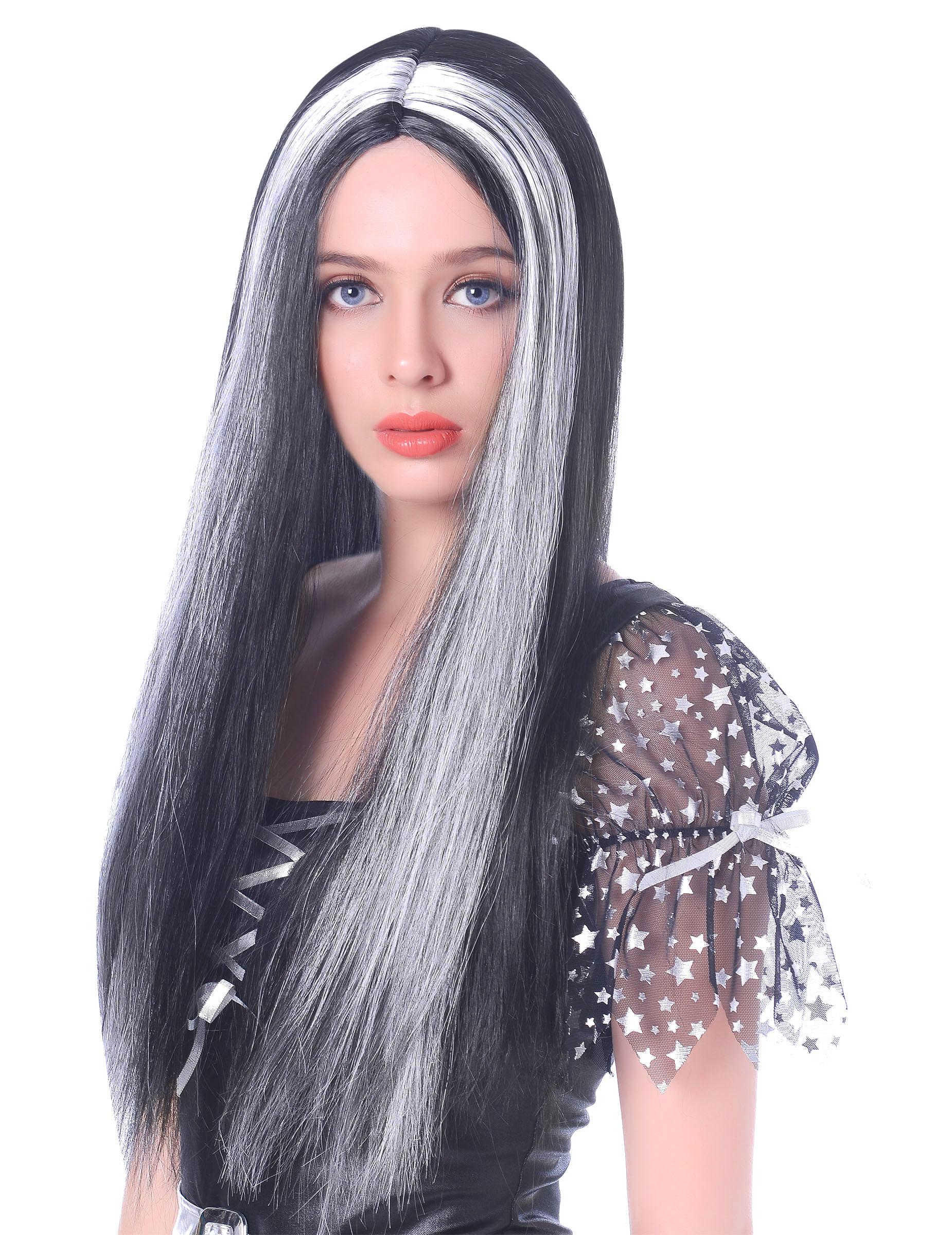 120 cmHexenperücke Langhaar Halloween Kostümperückeschwarz oder grau