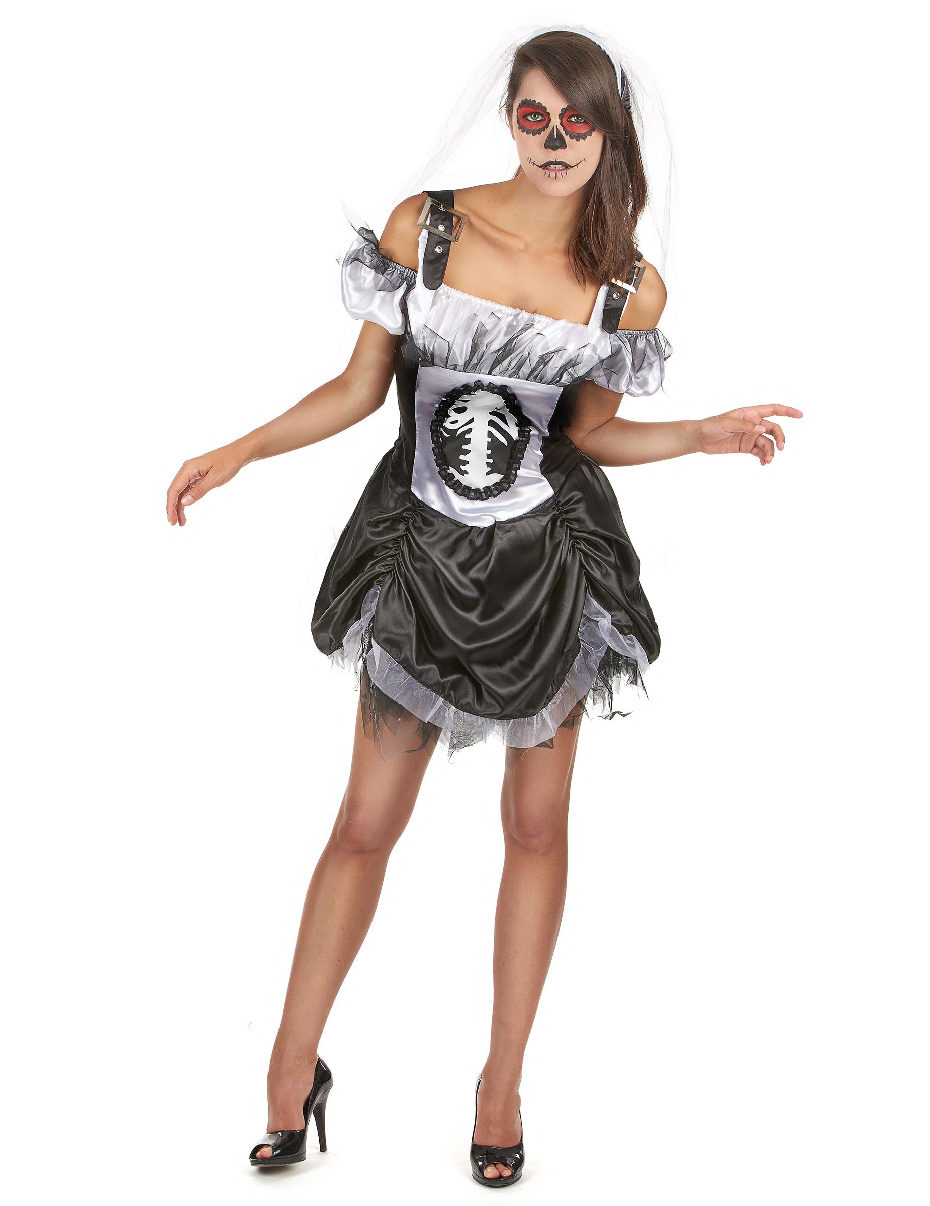 Halloween Kostueme Yatego.Sexy Skelett Kleid Halloween Damenkostum Schwarz Weiss Gunstige Halloween Kostume Bei Horrorklinik