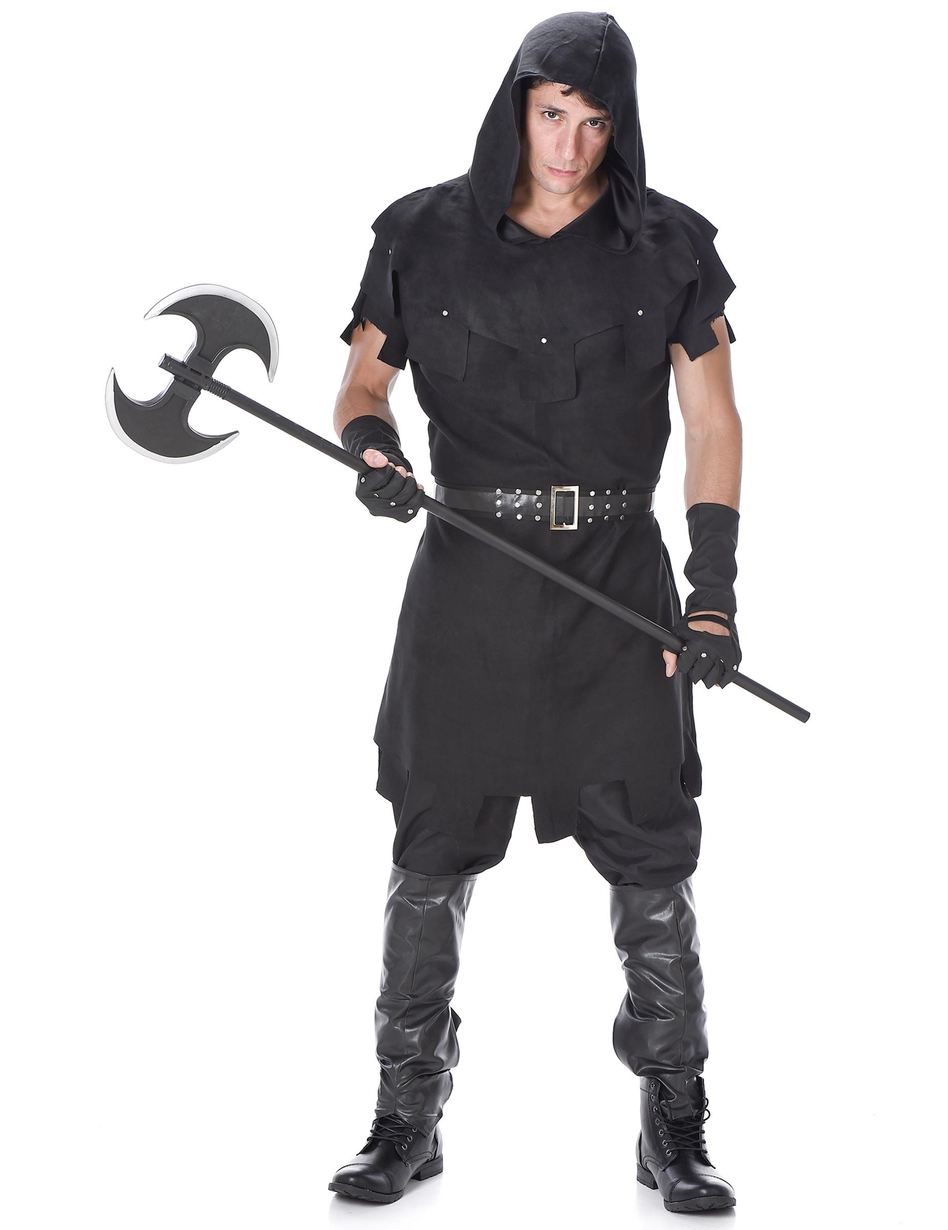 Mittelalter Henker Kostüm für Herren Halloweenkostüm schwarz