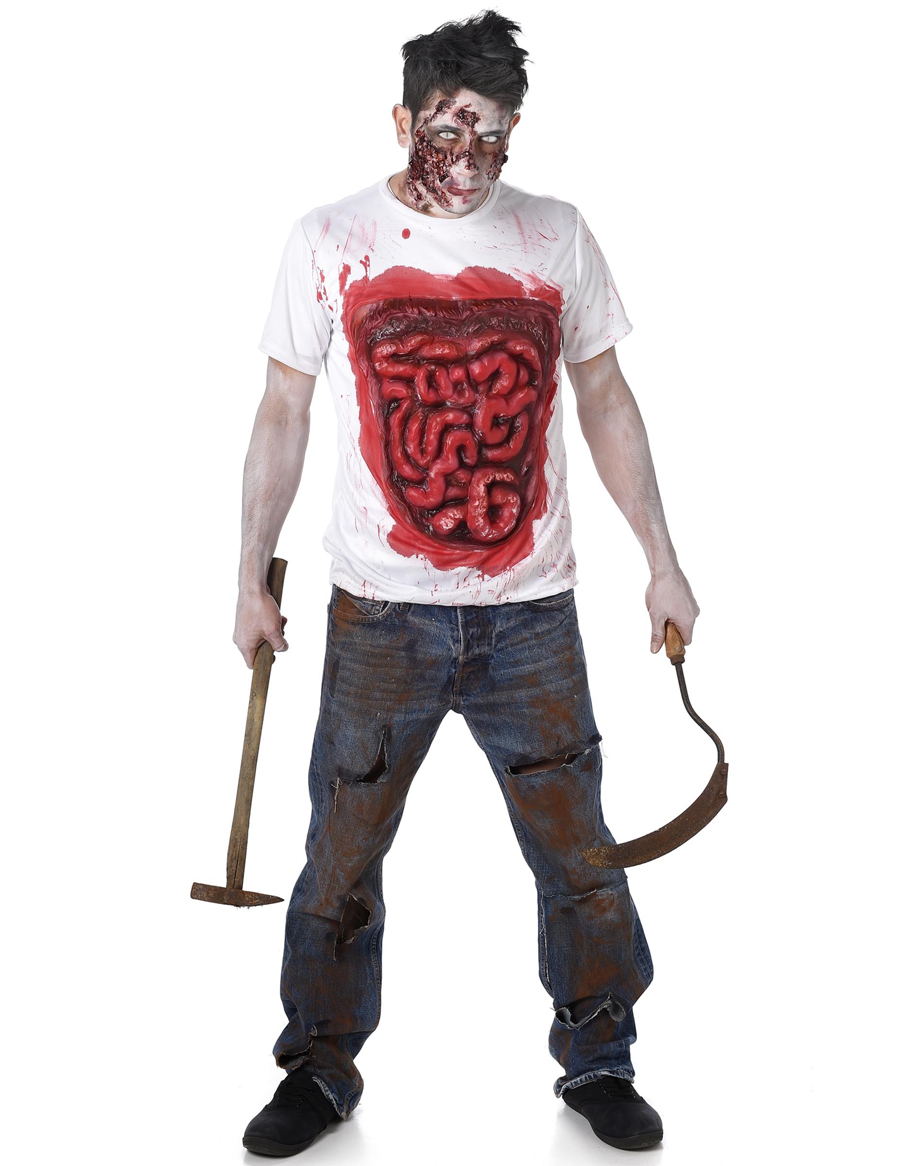 Zombie Shirt Mit Blutigen Eingeweiden Halloween Weiss Rot Günstige