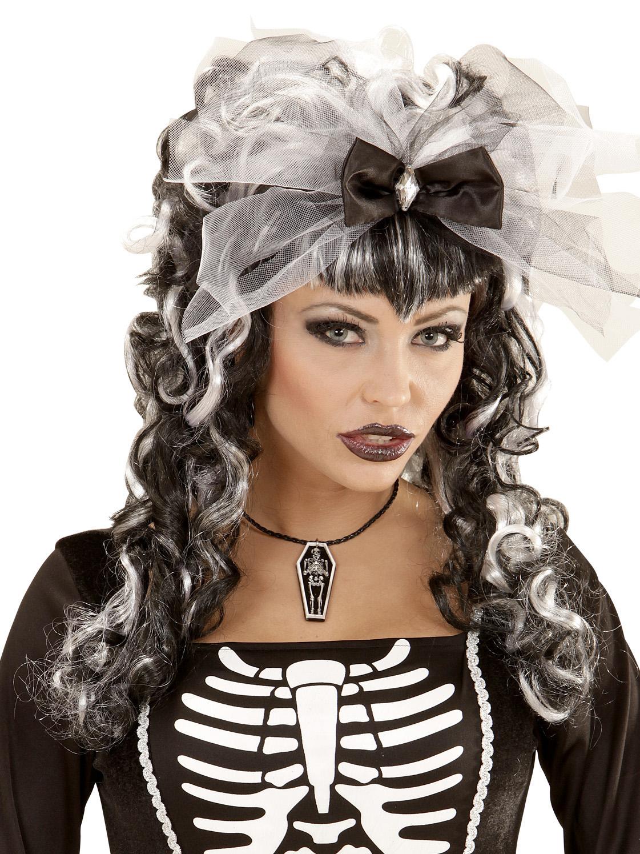 9cb5ba519e73a3 Skelett im Sarg Halloween Gothic Halskette schwarz-weiss