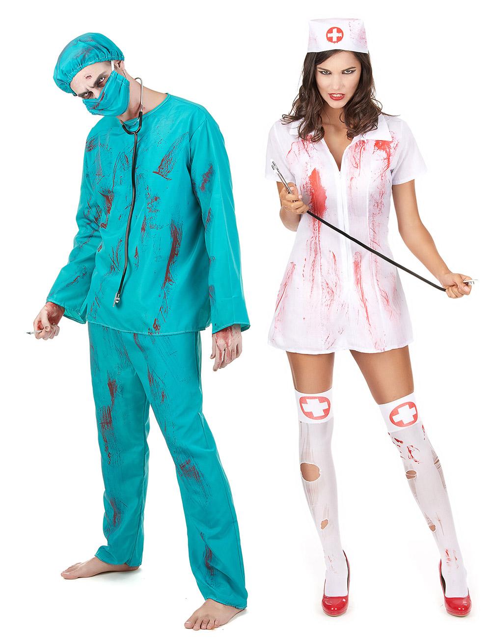 Zombie Krankenschwester Arzt Paarkostum Grun Weiss Rot