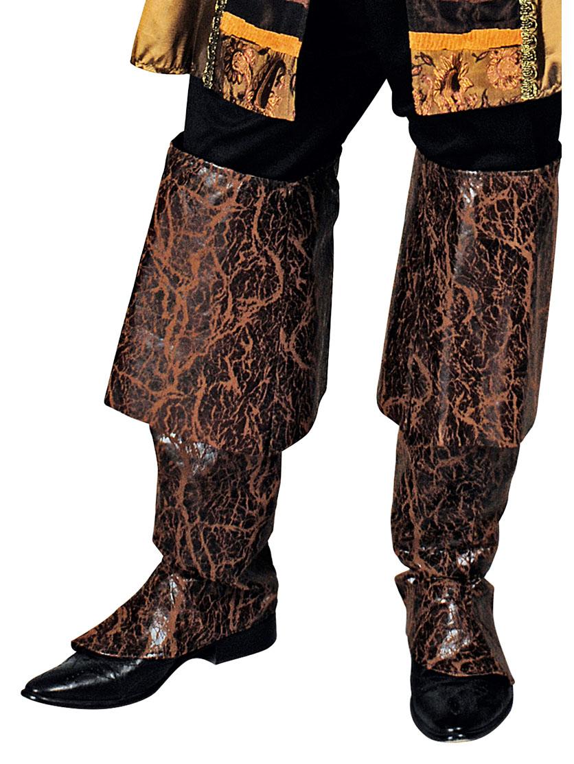Pirat Stiefelstulpen braun gold , günstige Halloween