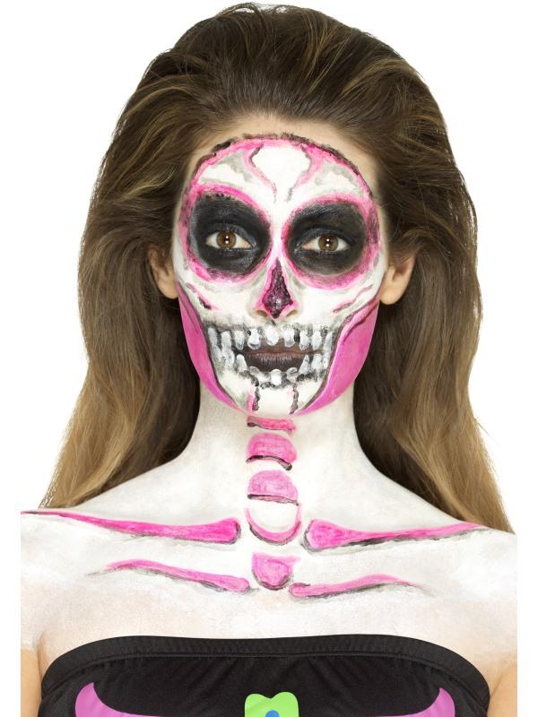 Nachtleuchtende Halloween Schminke Skelettfrau Dia De Los Muertos