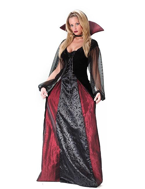 6d24a3732a8569 Elegante Vampirin Gothic Damenkostüm schwarz-rot , günstige ...