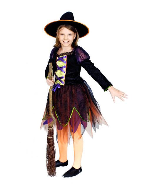 Hexe Halloween Kinderkostüm Schwarz Grün Orange