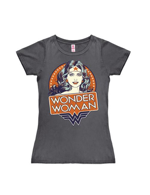 DC Comics Wonder Woman Portrait Girlie Shirt Lizenzware dunkelgrau