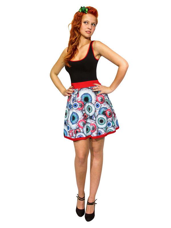 9438faff575 Kreepsville Gothic Kleid Augäpfel schwarz-rot-weiss