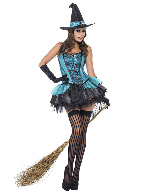 Sexy Hexe Halloween Damenkostüm Türkis Schwarz