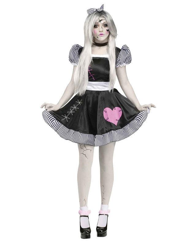 ragdoll puppe halloween damenkostum schwarz weiss