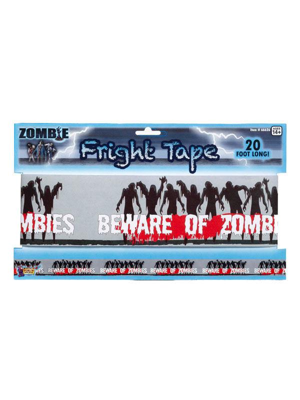 Absperrband Beware Of Zombies Halloween Deko Schwarz Weiss Rot