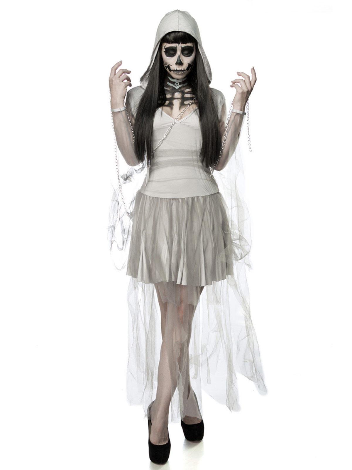 geister-frau halloween-damenkostüm komplettset grau , günstige
