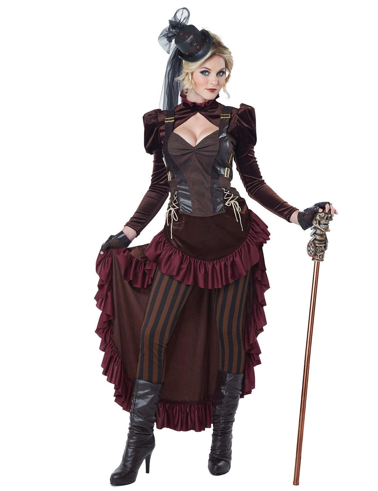 Viktorianisches Steampunk Damenkostüm braun bordeaux