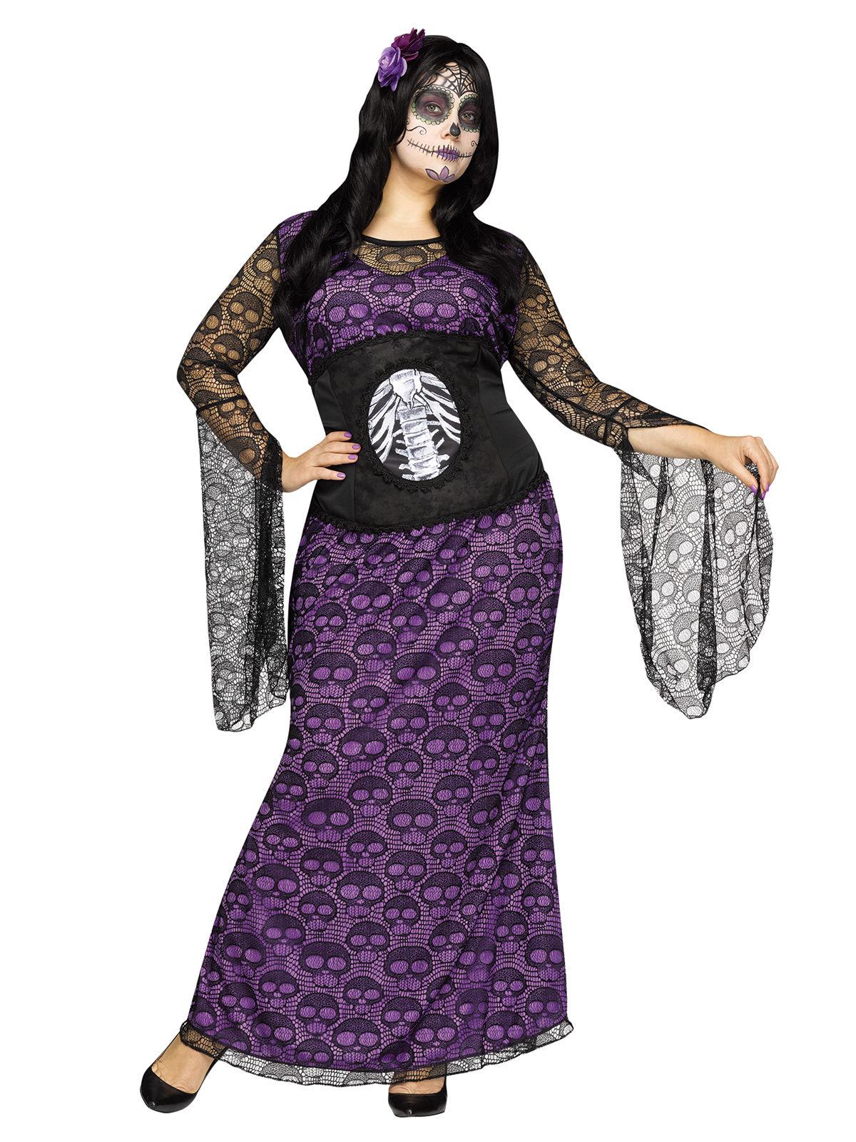 Tag der Toten-Kleid Plus Size Halloween-Damenkostüm schwarz-lila ...