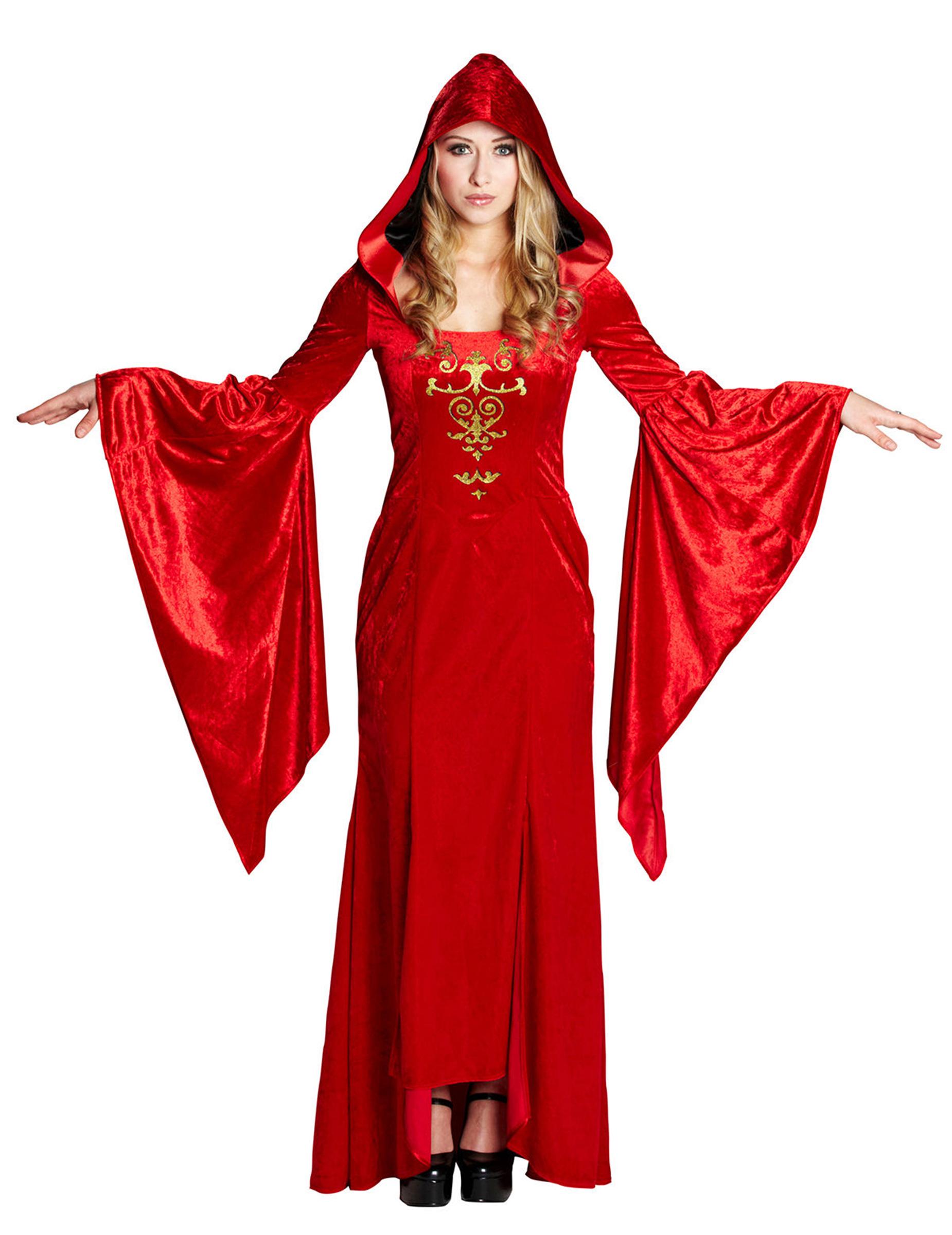 Mittelalterliche Robe Damenkostüm Gothic rot gold
