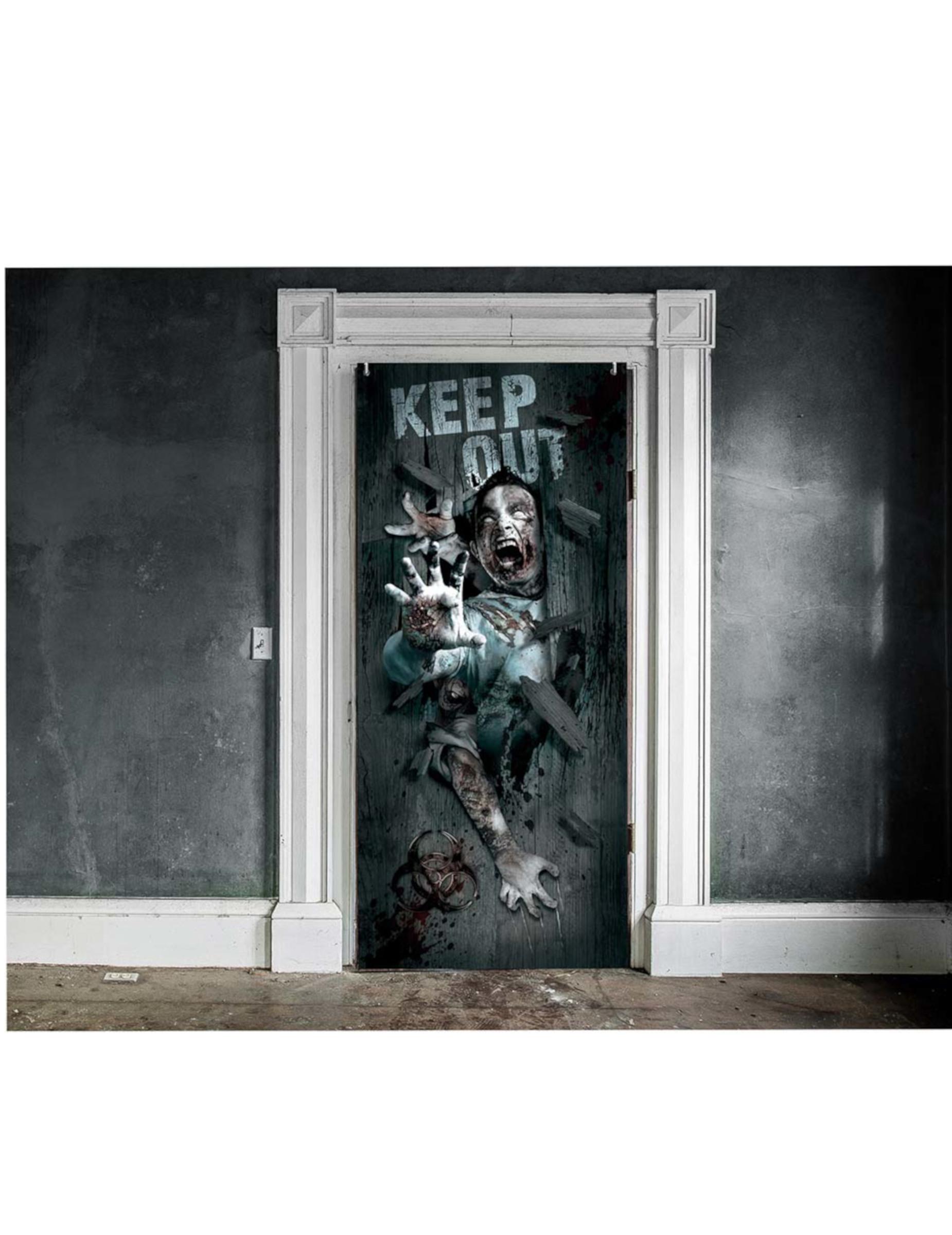 Halloween Tur Deko Zombie Aufzug Bunt 46x152cm Gunstige Halloween Partydeko Bei Horrorklinik