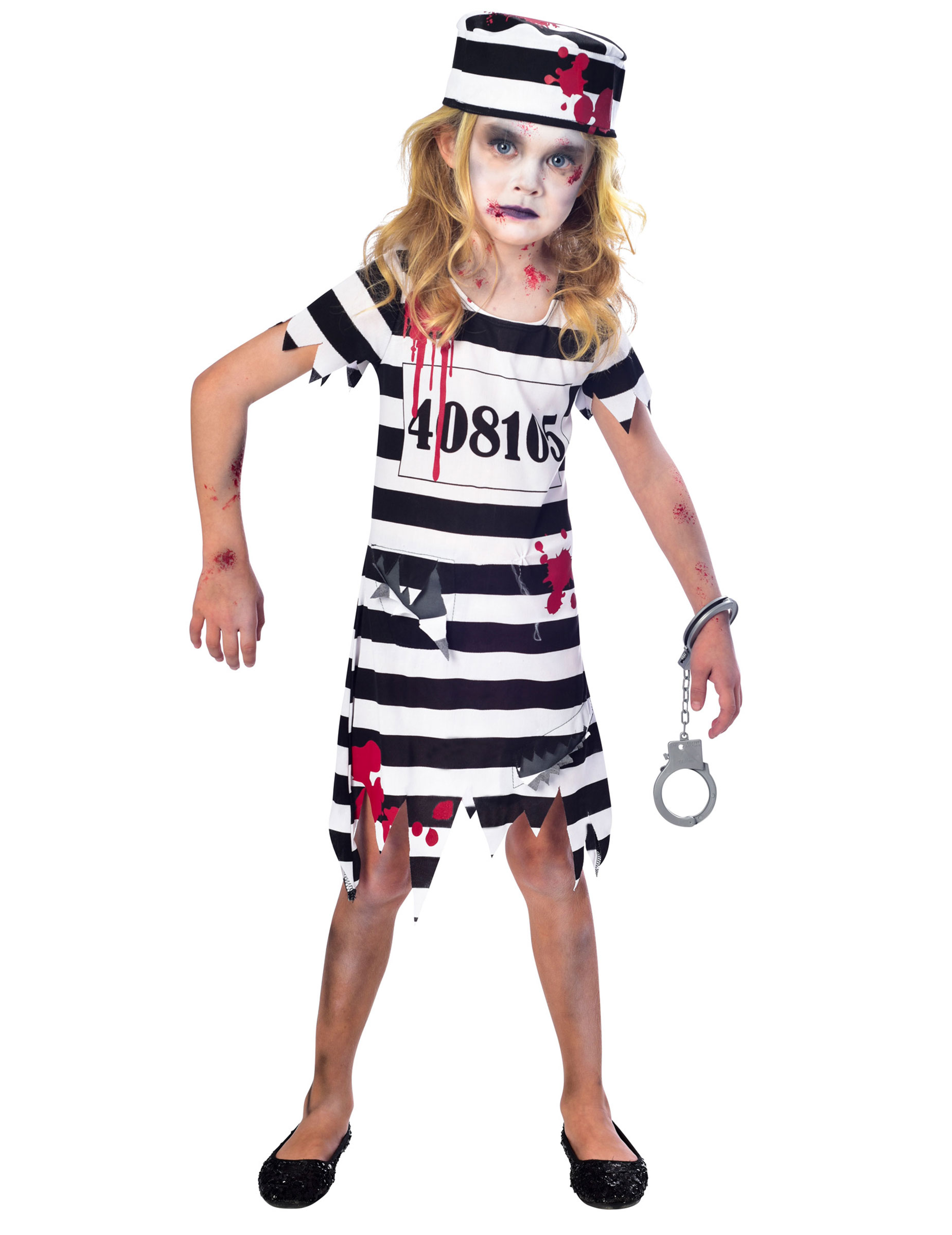 Zombie Gefangenen Kostum Fur Madchen Schwarz Weiss Rot