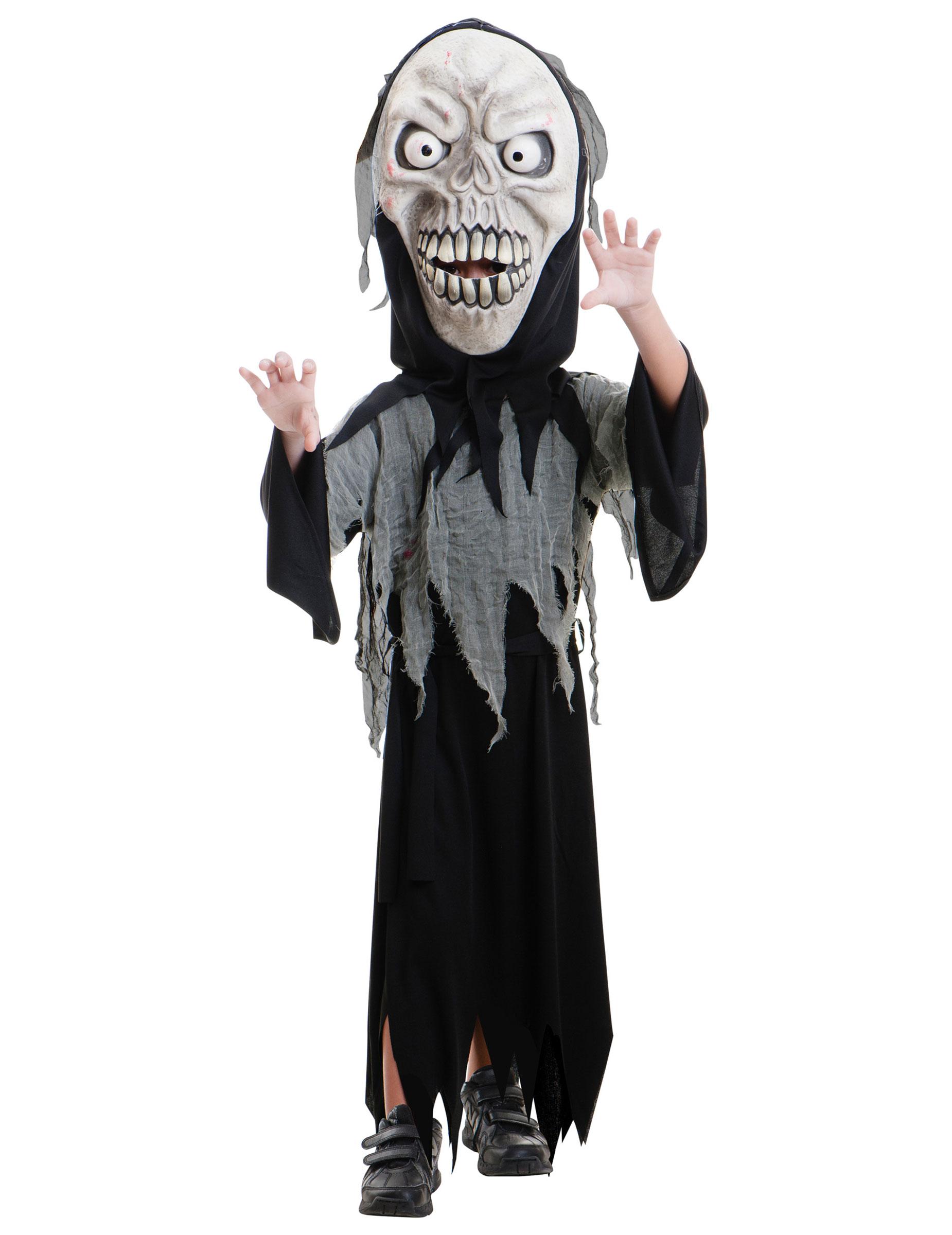Sensenmann Kinder Kostüm Für Halloween Schwarz Weiss Grau