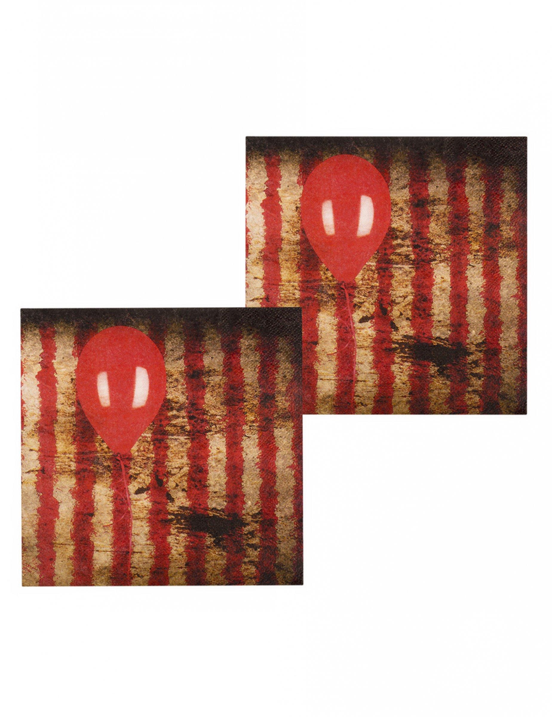 Killerclown Servietten Halloween Tischdeko 12 Stuck Rot Schwarz