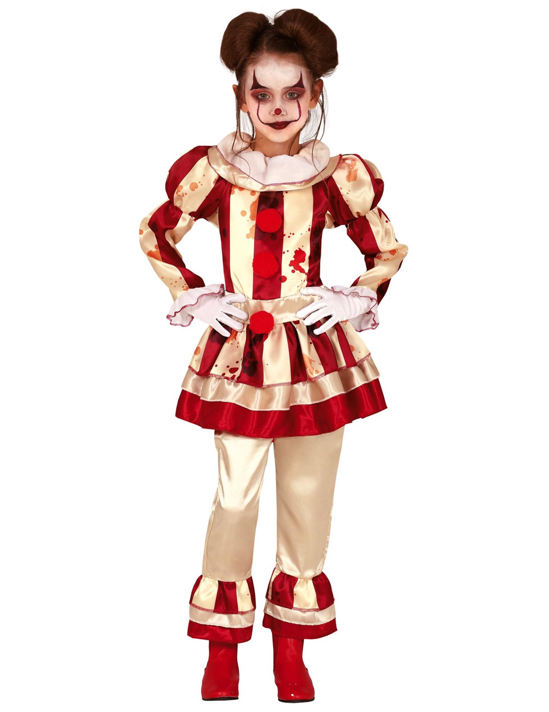 Blutige Clowns Verkleidung Fur Madchen Rot Cremefarben Gunstige