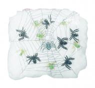 Spinnennetz mit 6 Spinnen Halloween Raumdekoration weiss-grün