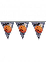 Kürbis und Geister Halloween Wimpel-Girlande grau-orange 6m