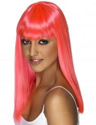 Neon Damen-Perücke Karneval glatt pink