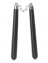 Nunchaku Kostüm-Zubehör schwarz-silber 62cm